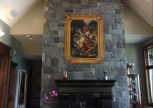 Bouquet Flamand tapestry above a fireplace
