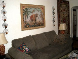 The Elephant tapestry in a living room setting