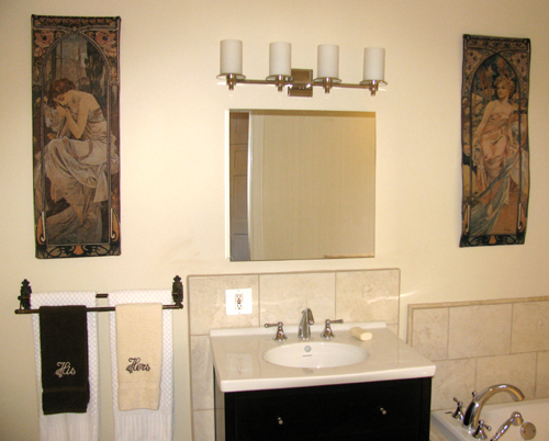 Alphonse Mucha tapestries in a bathroom