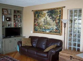 Flamingos at the River Lignon - French landscape tapestry
