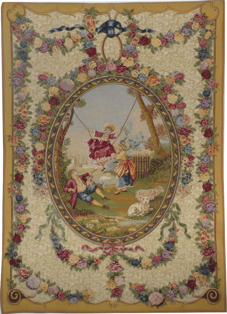 18th century Medallion tapestry - The Swing by Fragonard