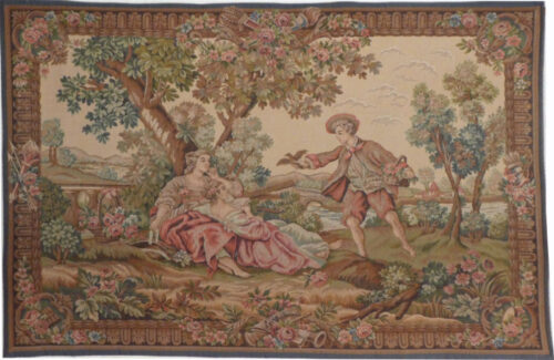 A Gallant Gift tapestry - fine French tapestry on sale
