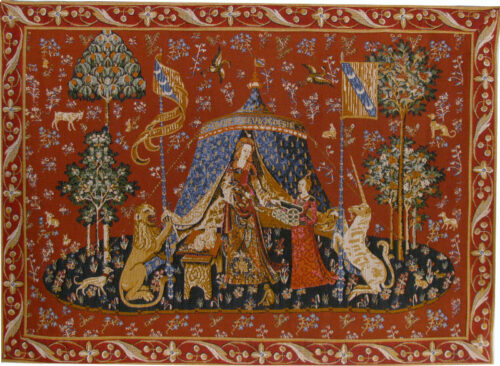 A Mon Seul Desir tapestry with border - Lady with the Unicorn