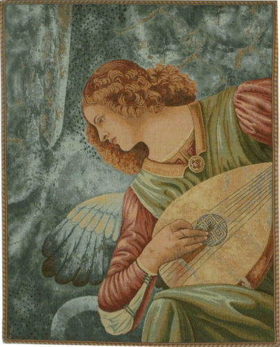 Angel with a Lute tapestry - religious wall-hanging tapestries