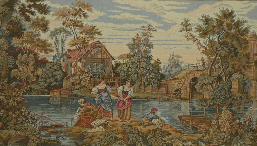 At the Mill - old mill and bridge - Italian wall tapestry