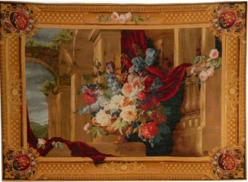 Baroque Bouquet tapestry - horizontal wall tapestries