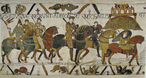 Mont St Michel in the Bayeux Tapestry - woven in Belgium