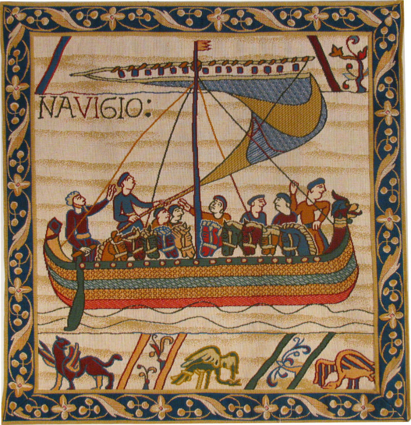 Bayeux Tapestry Navigio - Duke William sailing tapestries
