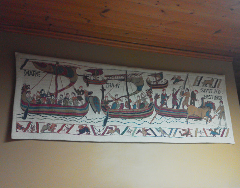 Bayeux Tapestry three ships - hanging in a kitchen