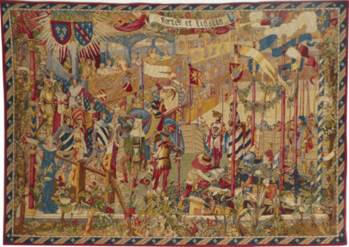 Before the Tournament tapestry - French tapestry wall hanging