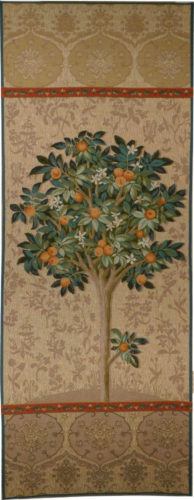 Beige Orange Tree tapestry - Lady and the Unicorn tapestries