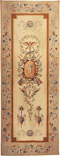 Statue Portiere tapestry - tall slim French wallhanging