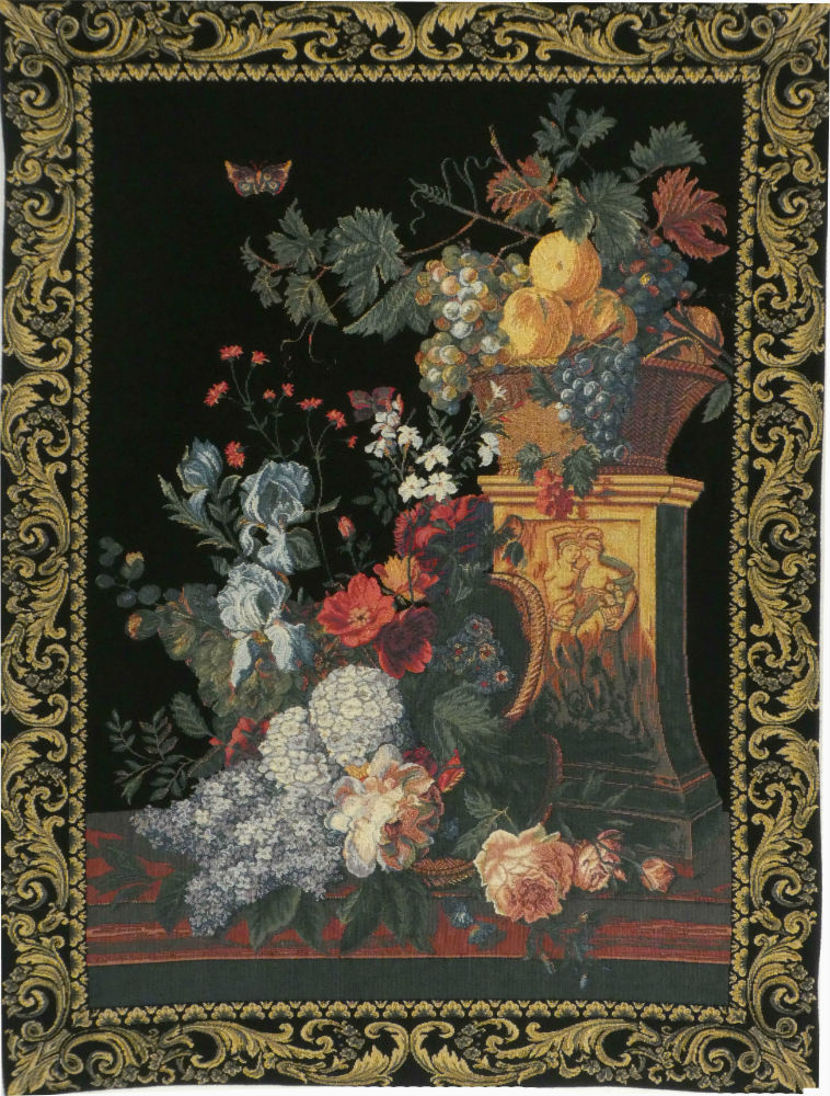 Bouquet on a Column tapestry - French still life tapestry
