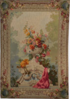 Bouquet with Bagpipe tapestry - 19th century Beauvais