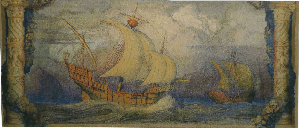 Caravelle wall tapestry - woven in Belgium - Portugese ships