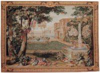 Chateau Fountain tapestry - French chateaux wall tapestries