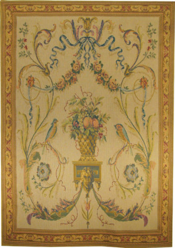 Birds tapestry - cream - 19th century tapestry wallhanging