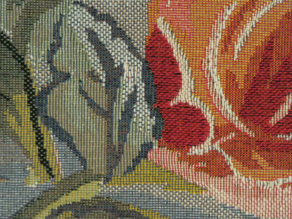 Close-up detail of Garden Flowers in a Vase tapestry