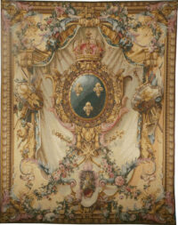 French Coat of Arms gold tapestry - Arms of France gobelins