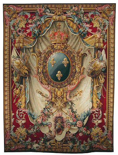 French Coat of Arms - burgundy tapestry - arms of France