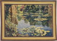 Giverny tapestry - gold border - Claude Monet tapestries
