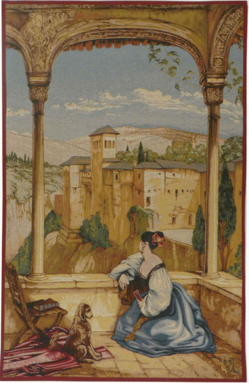 Granada wall tapestry - woven in France - Alhambra Palace