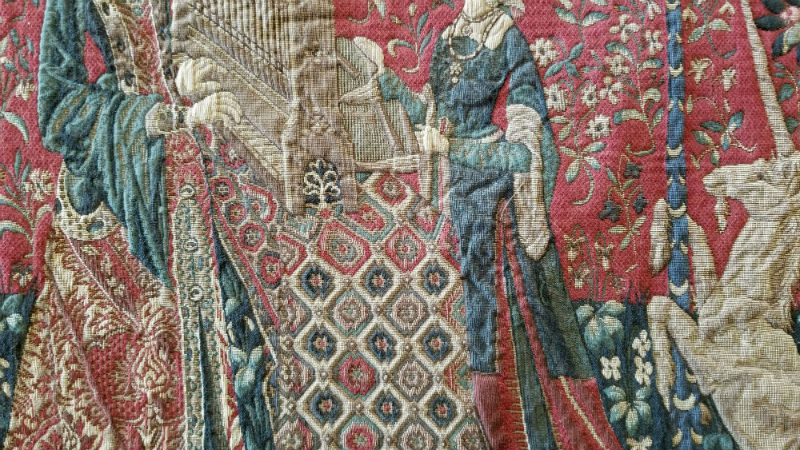 Hearing tapestry close-up detail - Lady with the Unicorn tapestries