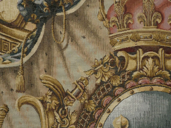 Heraldic crest of France tapestry detail
