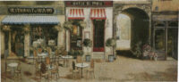 Hotel de Paris tapestry - French street cafe scene tapestries