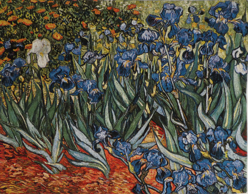 Irises in Garden tapestry - Van Gogh art tapestries