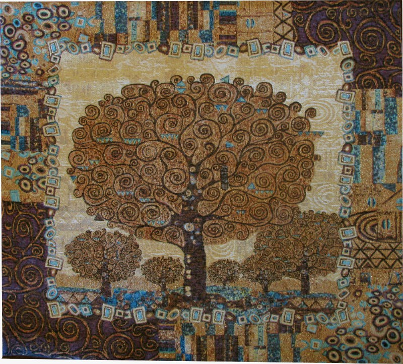 Klimt Tree of Life square tapestry - Art Nouveau tapestries