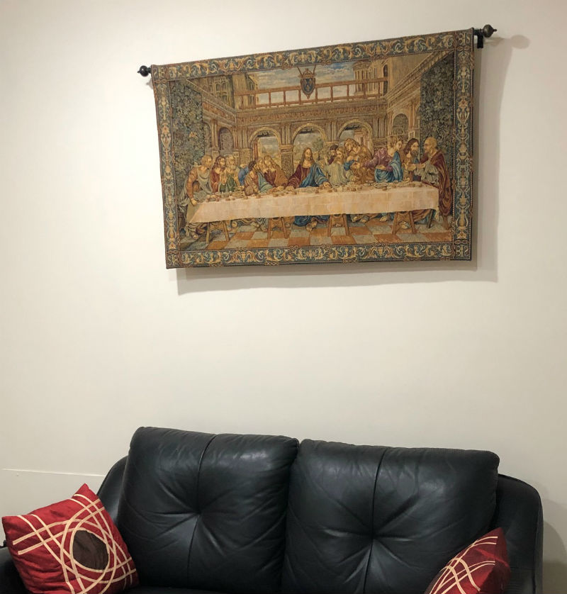 Last Supper tapestry wallhanging in a home