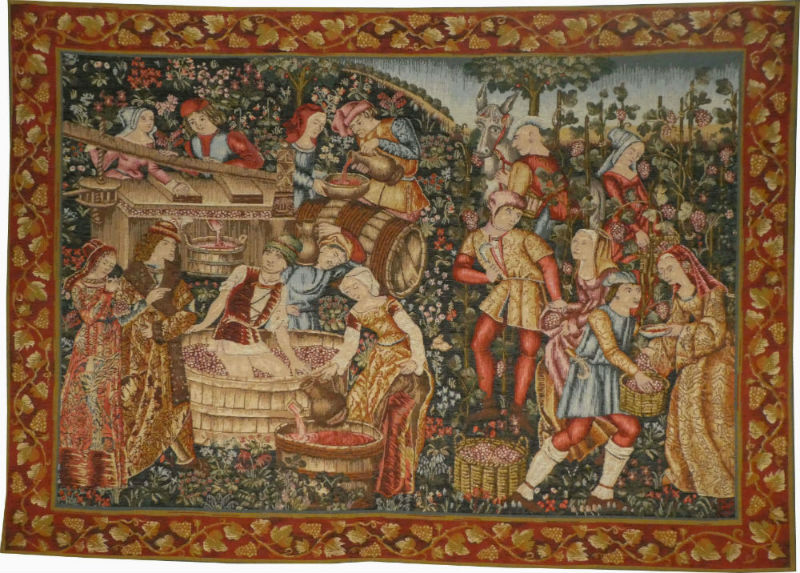 Les Vendanges tapestry - French grape harvest wall-hanging