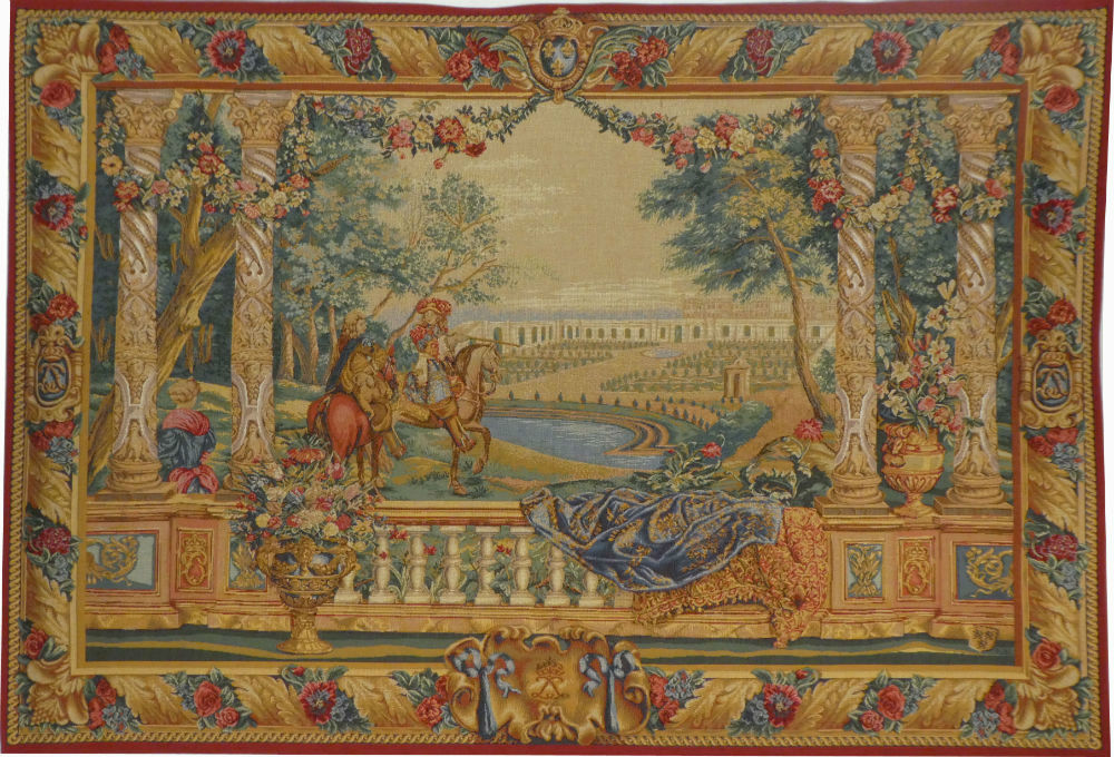 Louis XIV at Versailles tapestry - French chateaux tapestries