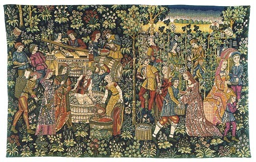 Vintage wall tapestry - Vendange tapestry Cluny Museum
