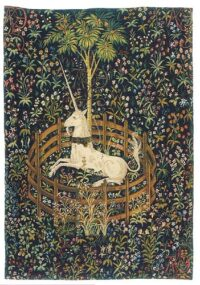 Captive Unicorn tapestry - The Hunt of the Unicorn tapestries