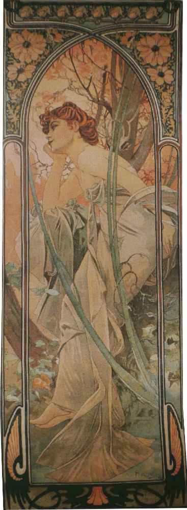 Mucha Evening Contemplation tapestry - Art Nouveau