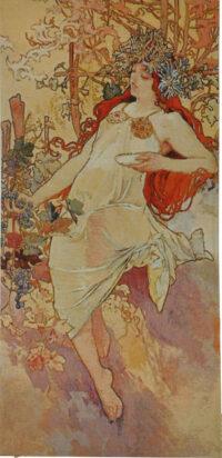 Mucha Tapestry - Autumn - Alphonse Mucha seasons