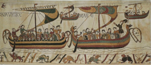 Navigio from The Bayeux Tapestry - sailing scene woven in Belgium