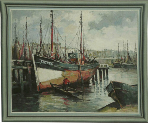 North Sea Harbour tapestry - fishing boats - tapestries on sale