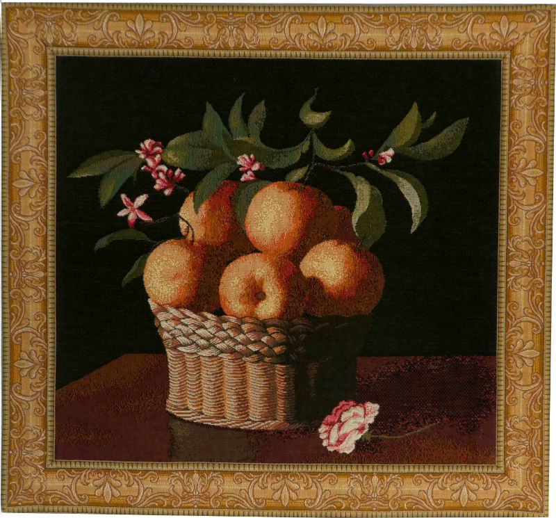 Orange Basket tapestry - bordered French wall tapestry