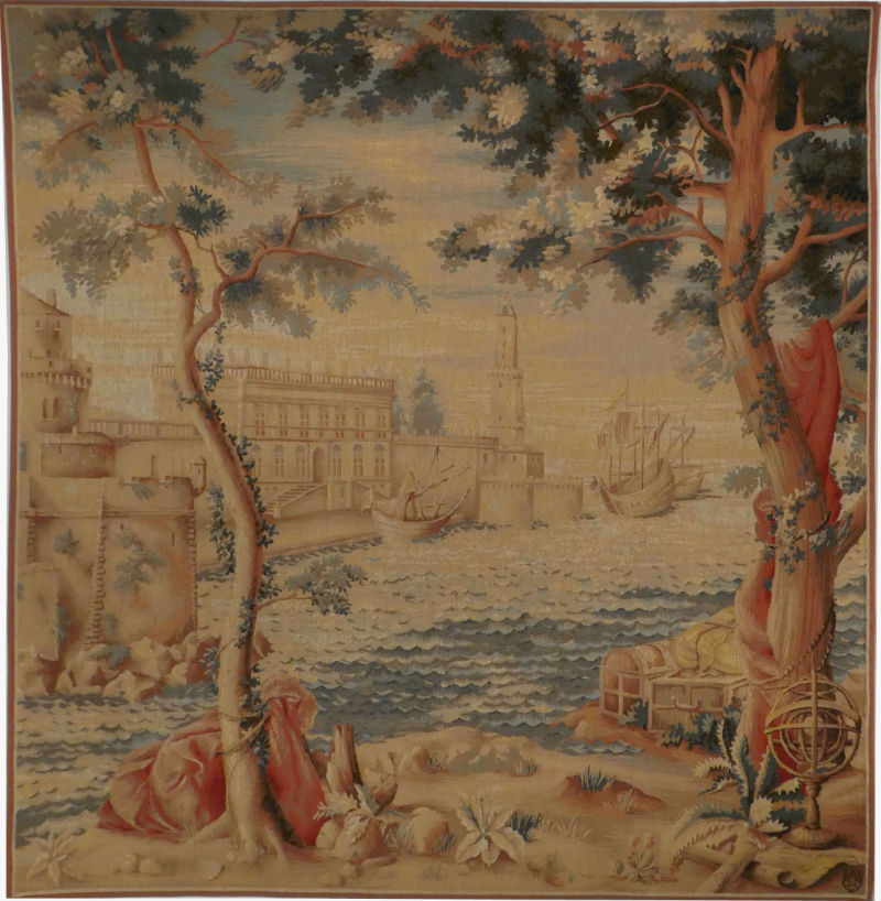 Oriental Harbour tapestry - woven French tapestry hanging