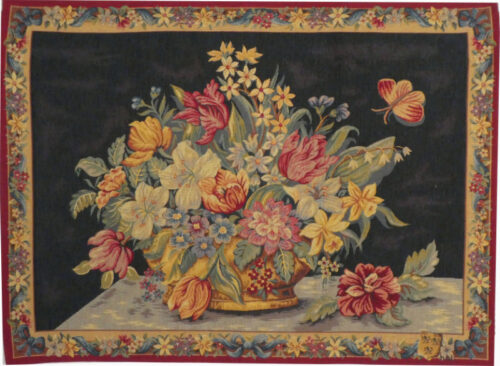 Panier of Flowers tapestry - sale wall tapestries - floral tapestry
