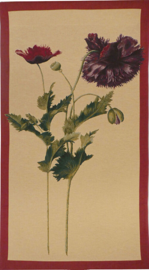 Papaver bordered tapestry - French botanical tapestries