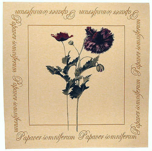 Papaver tapestry, tablecloth - botanical tapestries - woven in France