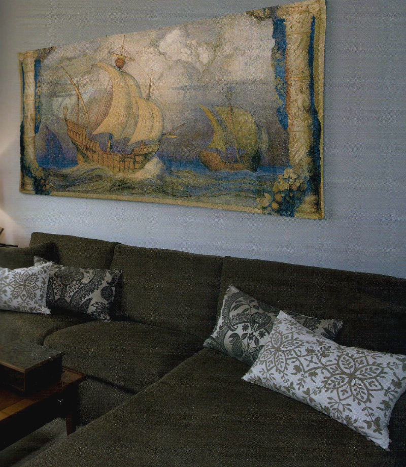 Portugese ships tapestry - Belgian Caravelle wall-hanging