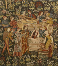 Vintage - Pressing the Grapes medieval tapestry wall-hanging