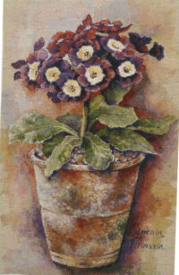 Primula tapestry - contemporary floral tapestry - Celia Margaret Ingham