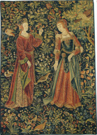 The Promenade with 2 figures tapestry - Scenes from Lordly Life tapestries