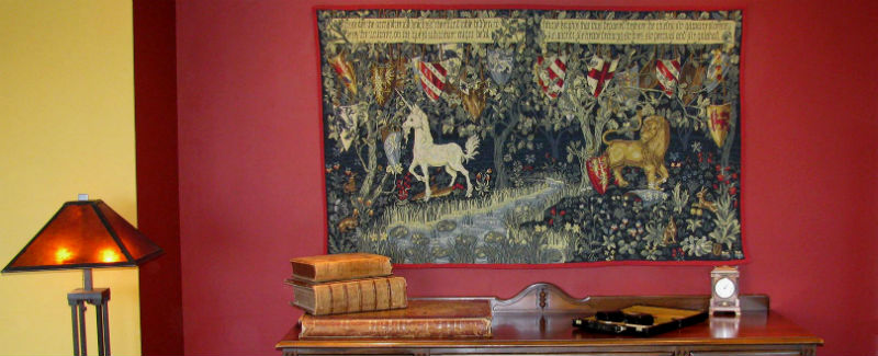 Quest for the Holy Grail - William Morris lion and unicorn tapestry